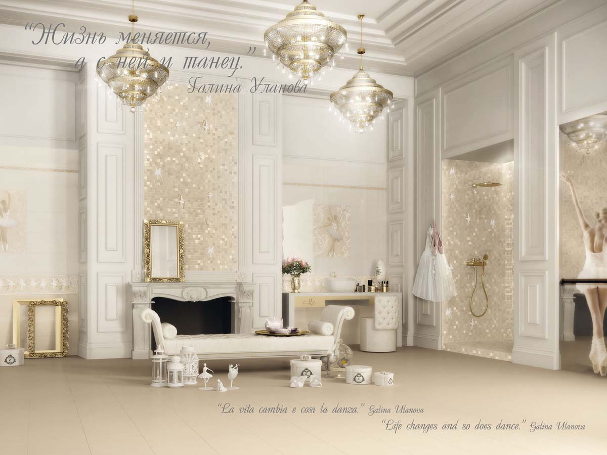The Ballet collection re-creates the magical enchantment of this timelessart form. The use of innovative materials gives the decoration a special gleam, adding new light to interior design schemes.