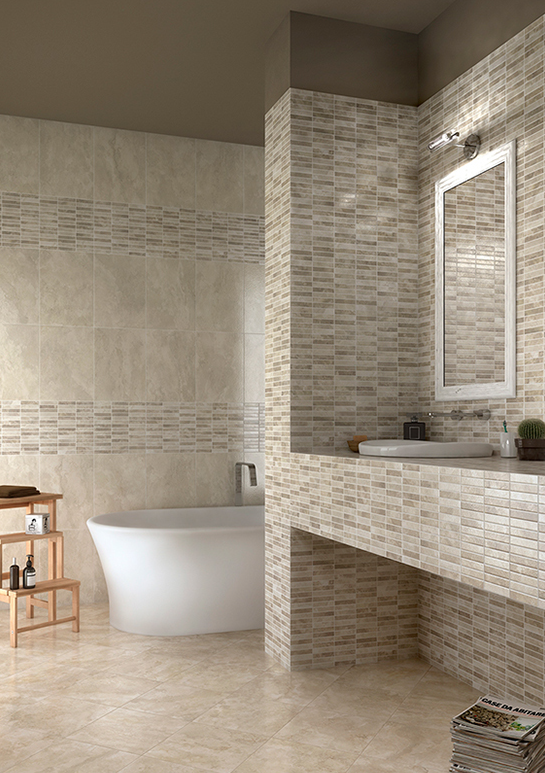 Tevere, an elegant design with a creative combination of colours and decors. You can select from various shapes and designs to alter the perspective and give a unique character to your bathroom