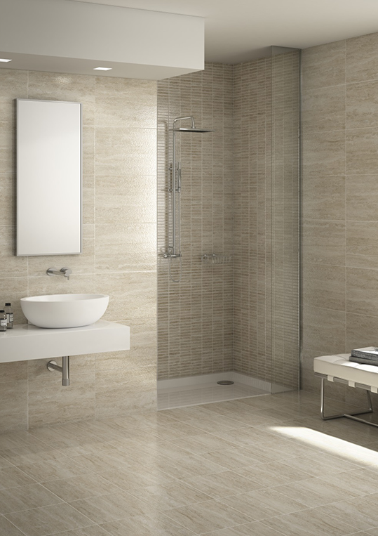 Travertino, an elegant design with a creative combination of colours and decors. You can select from various shapes and designs to alter the perspective and give a unique character to your bathroom