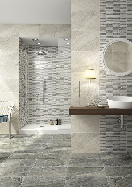 Prisma, an elegant design with a creative combination of colours and decors. You can select from various shapes and designs to alter the perspective and give a unique character to your bathroom