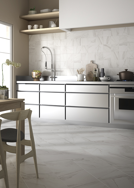 A carrara marbel look, to be used in your kitchen or bathroom. it comes with various types of decors