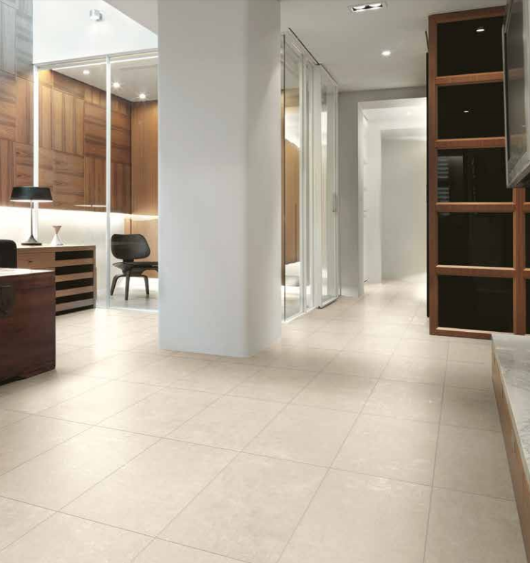 Kalos tile has modern and industrial stone effect design with different sizes and natural colors.