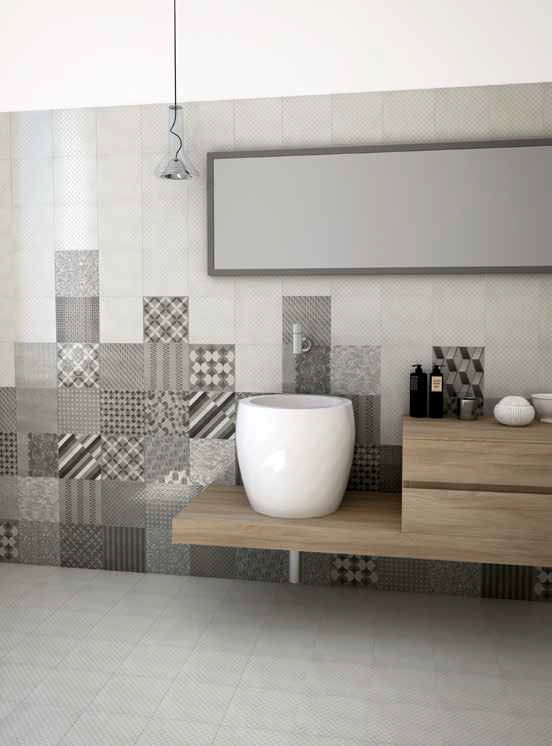 Metropolitan atmospheres and colors, for a contemporary tiled space, and up to date decoration.